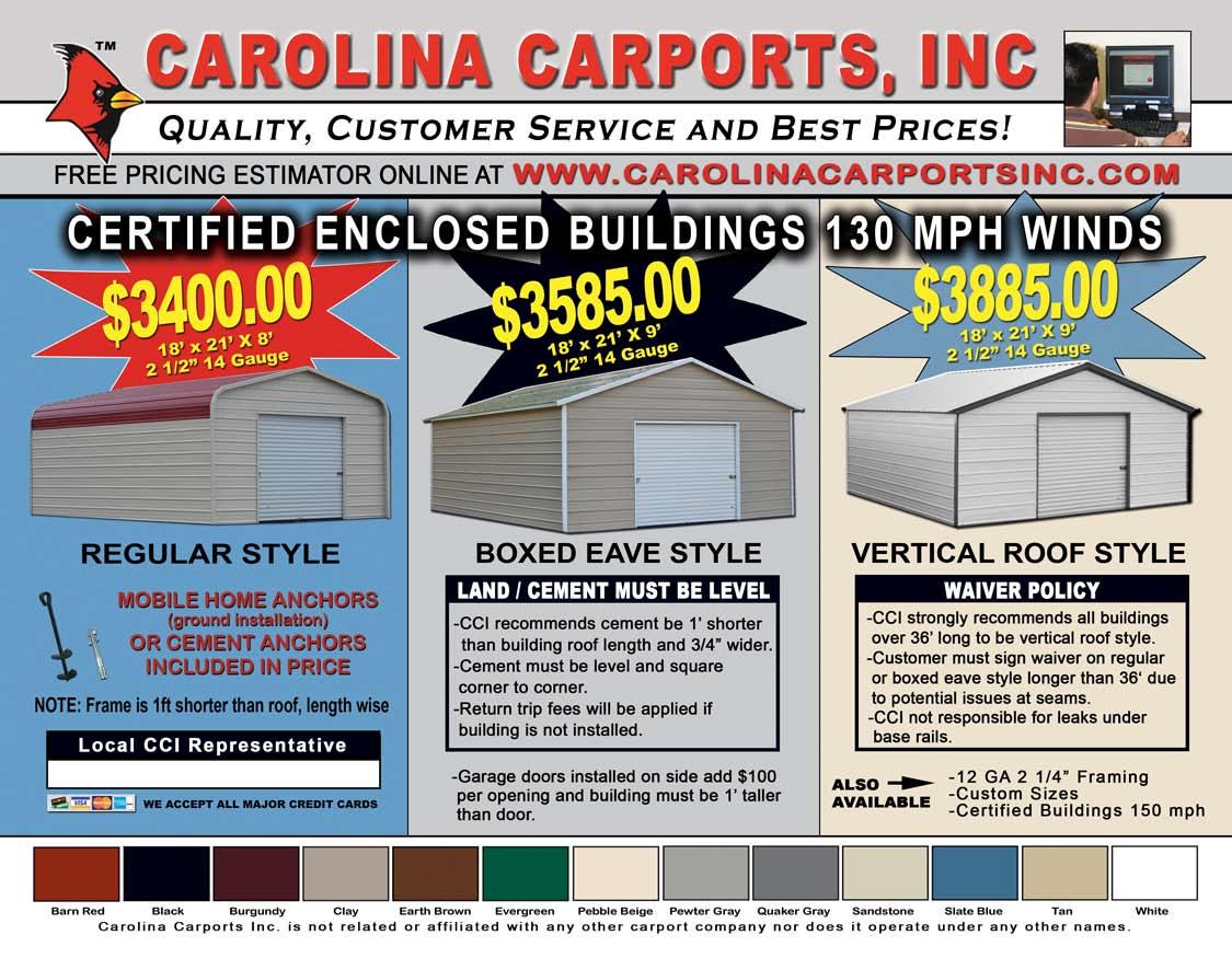 Carolina Carports Brochure : Carolina carports certified garages