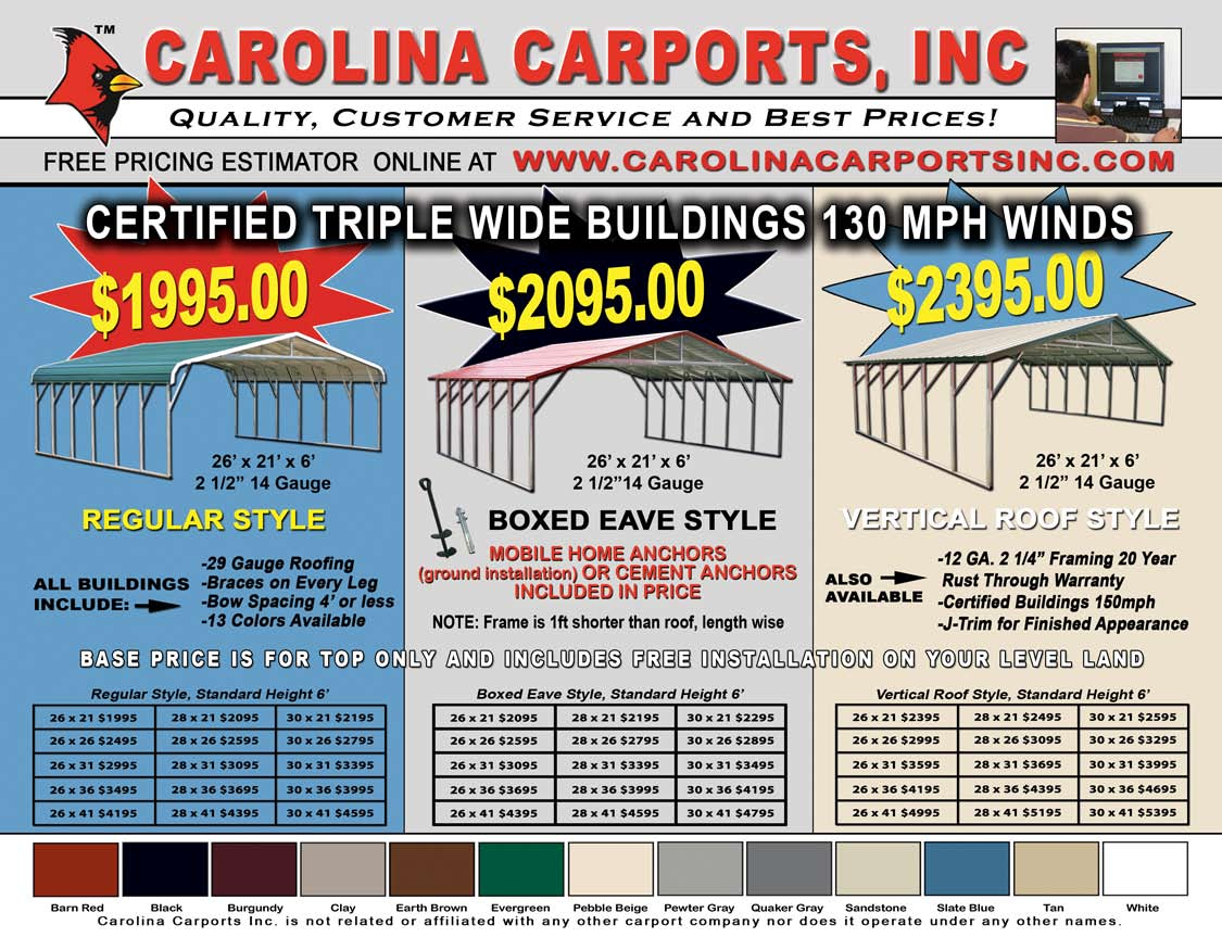 Carolina Carports Certified Carports Amp Garages